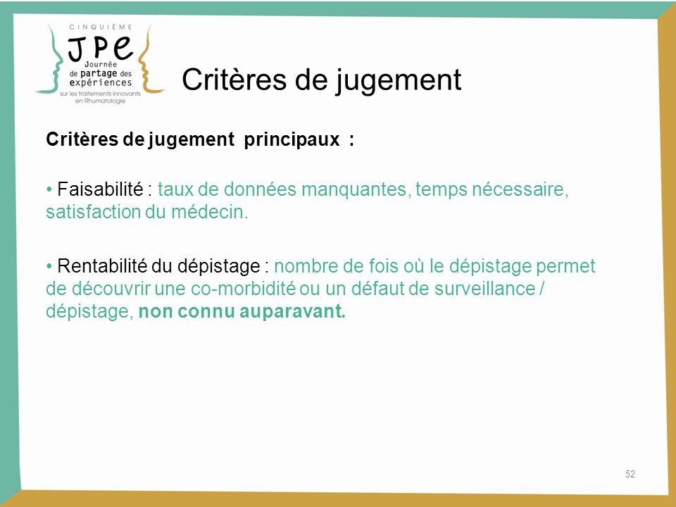 52 Critères de jugement Critères de jugement principaux : Faisabilité : taux de données manquantes, temps nécessaire, satisfaction du médecin. Rentabi