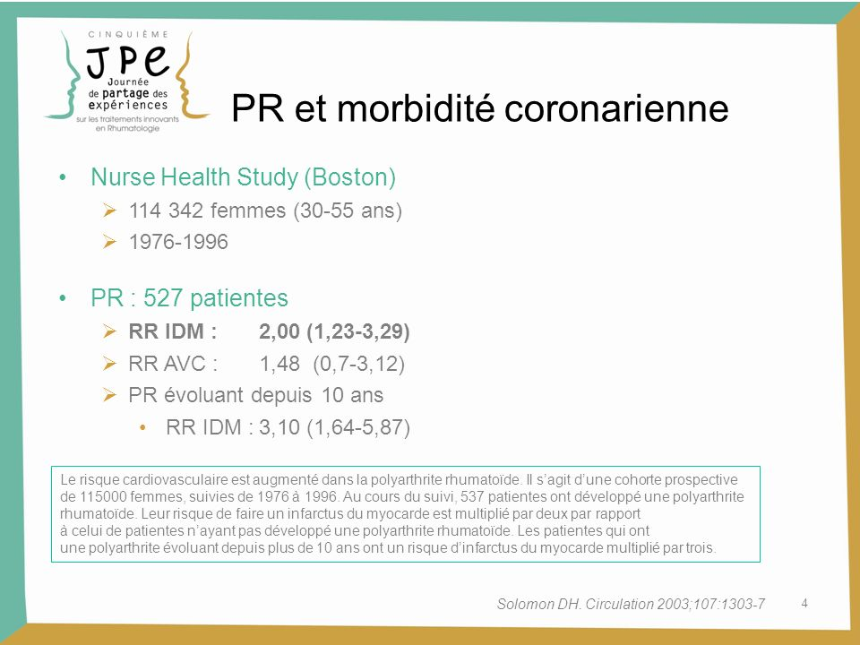 4 PR et morbidité coronarienne Nurse Health Study (Boston) 114 342 femmes (30-55 ans) 1976-1996 PR : 527 patientes RR IDM :2,00 (1,23-3,29) RR AVC :1,