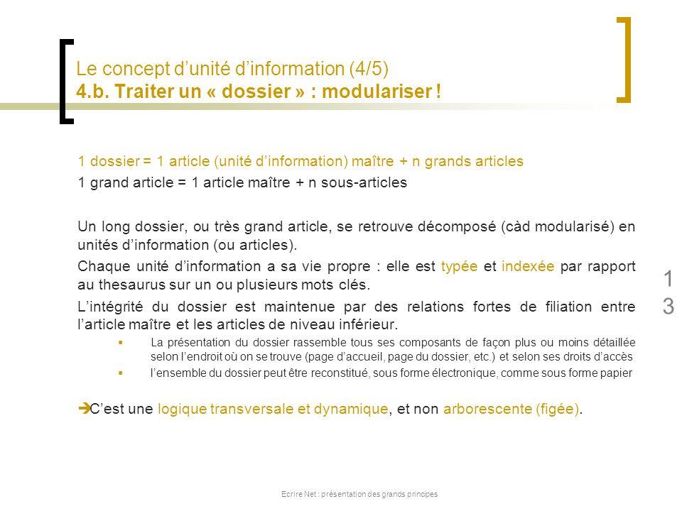 Le concept dunité dinformation (4/5) 4.b. Traiter un « dossier » : modulariser ! 1 dossier = 1 article (unité dinformation) maître + n grands articles