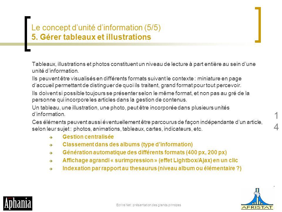 Le concept dunité dinformation (5/5) 5. Gérer tableaux et illustrations Tableaux, illustrations et photos constituent un niveau de lecture à part enti
