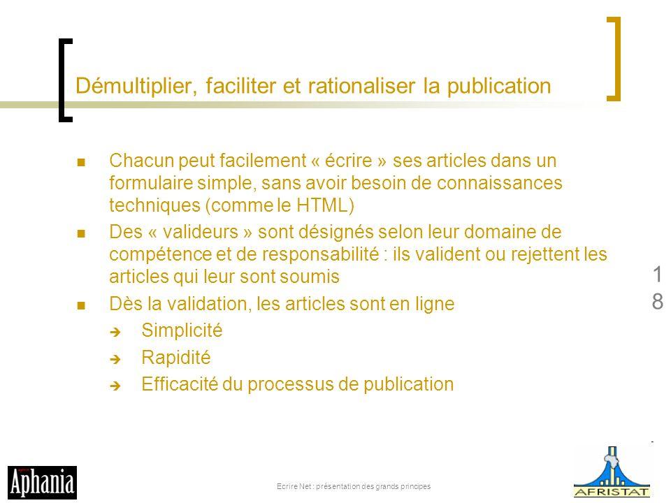 Démultiplier, faciliter et rationaliser la publication Chacun peut facilement « écrire » ses articles dans un formulaire simple, sans avoir besoin de