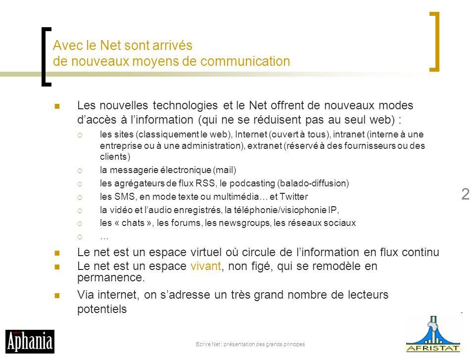 Avec le Net sont arrivés de nouveaux moyens de communication Les nouvelles technologies et le Net offrent de nouveaux modes daccès à linformation (qui