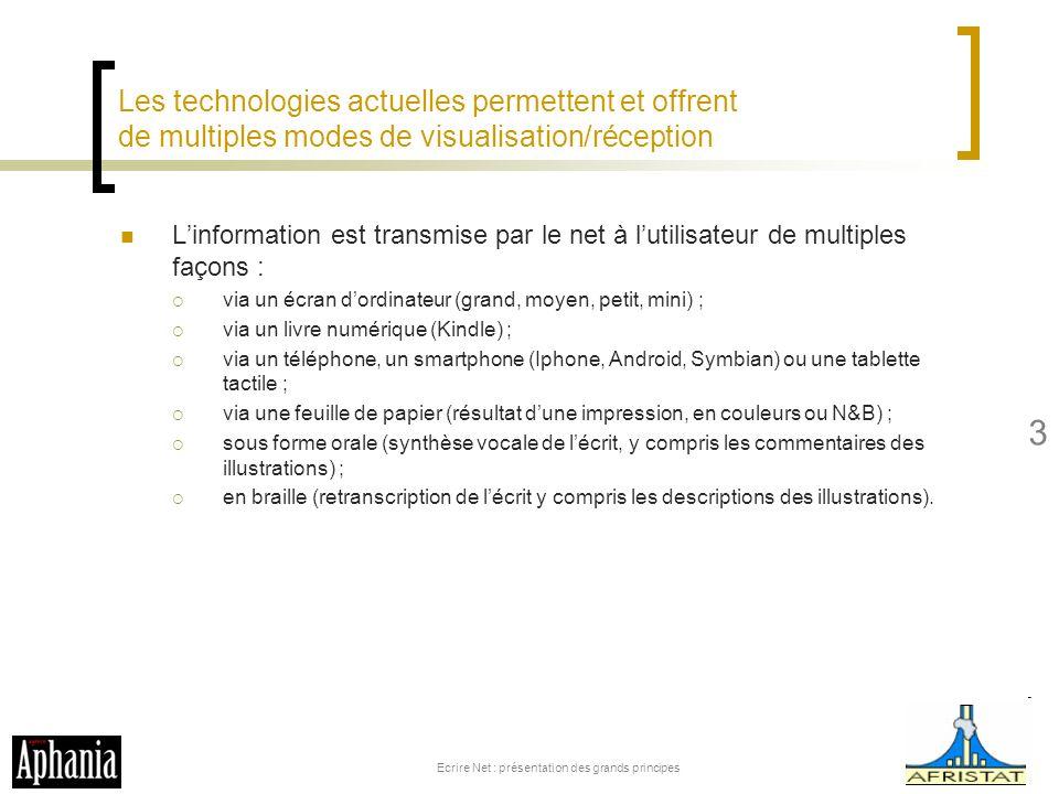 Les technologies actuelles permettent et offrent de multiples modes de visualisation/réception Linformation est transmise par le net à lutilisateur de