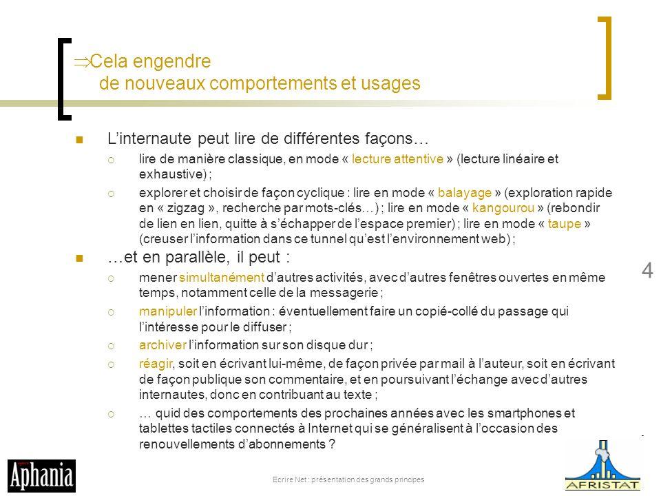 Cela engendre de nouveaux comportements et usages Ecrire Net : présentation des grands principes 4 Linternaute peut lire de différentes façons… lire d