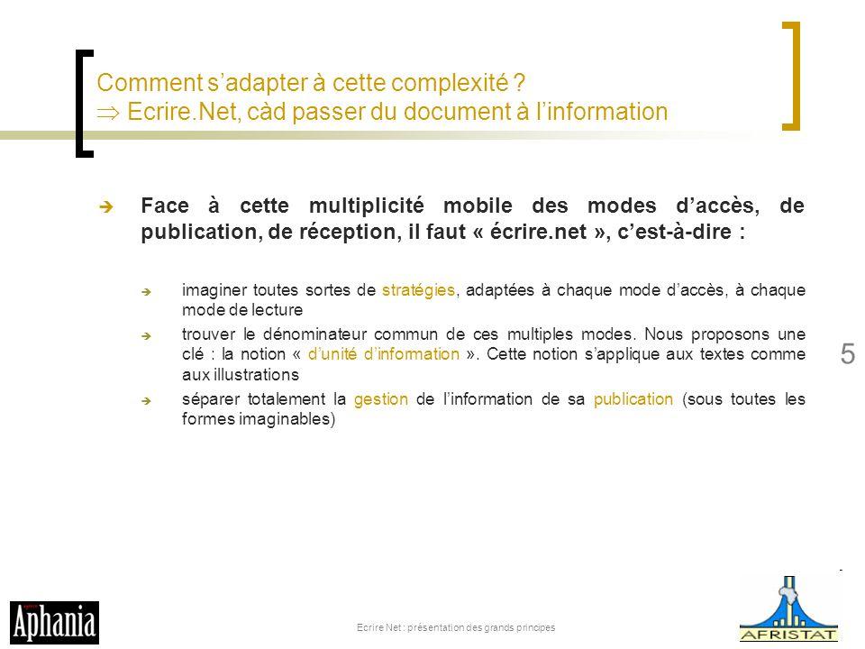 Comment sadapter à cette complexité ? Ecrire.Net, càd passer du document à linformation Face à cette multiplicité mobile des modes daccès, de publicat