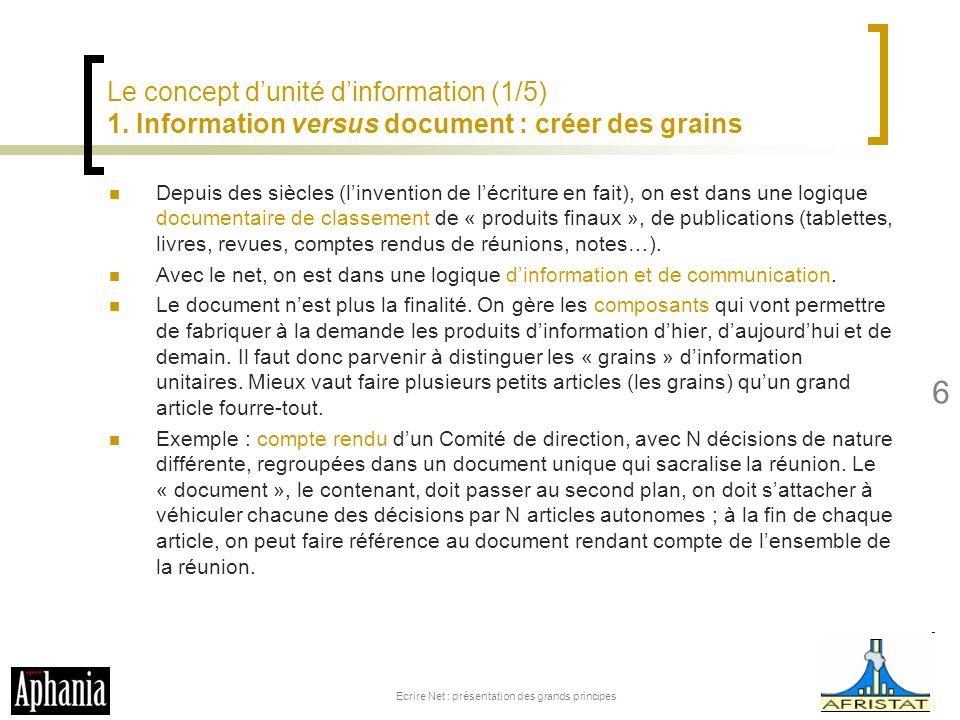 Le concept dunité dinformation (1/5) 1. Information versus document : créer des grains Depuis des siècles (linvention de lécriture en fait), on est da