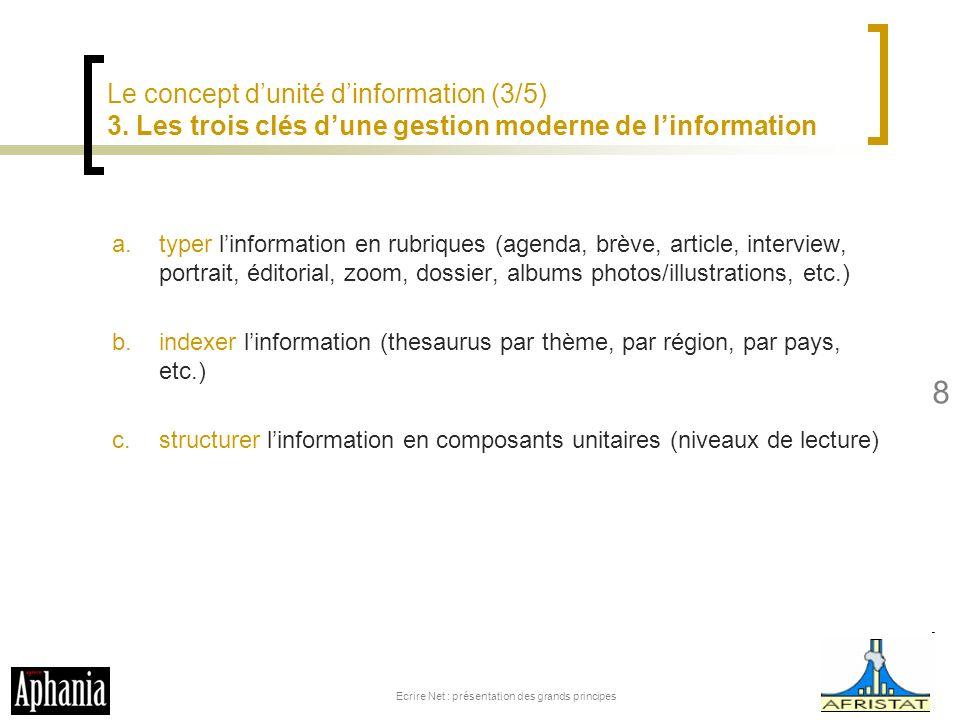Le concept dunité dinformation (3/5) 3. Les trois clés dune gestion moderne de linformation a.typer linformation en rubriques (agenda, brève, article,