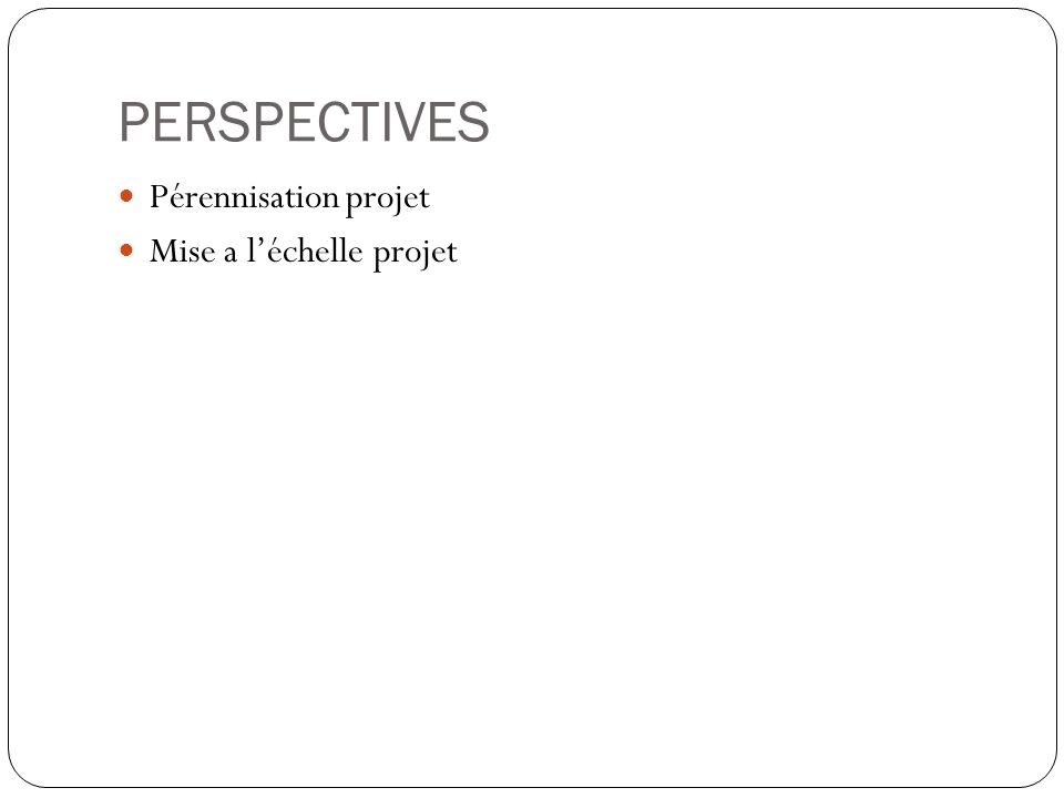 PERSPECTIVES Pérennisation projet Mise a léchelle projet
