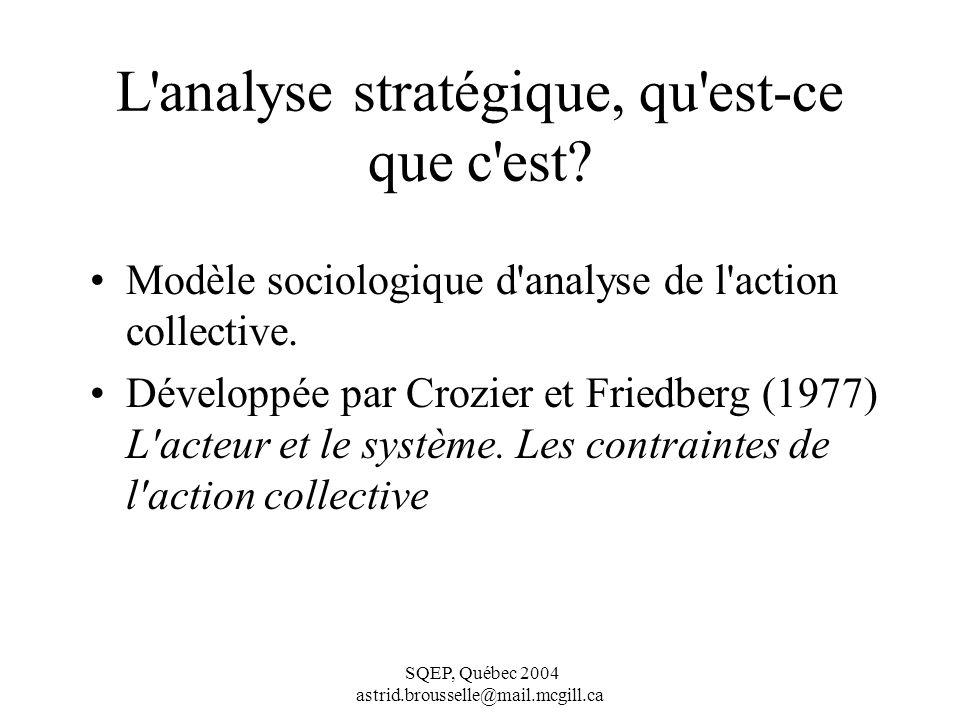 SQEP, Québec 2004 astrid.brousselle@mail.mcgill.ca L analyse stratégique, qu est-ce que c est.