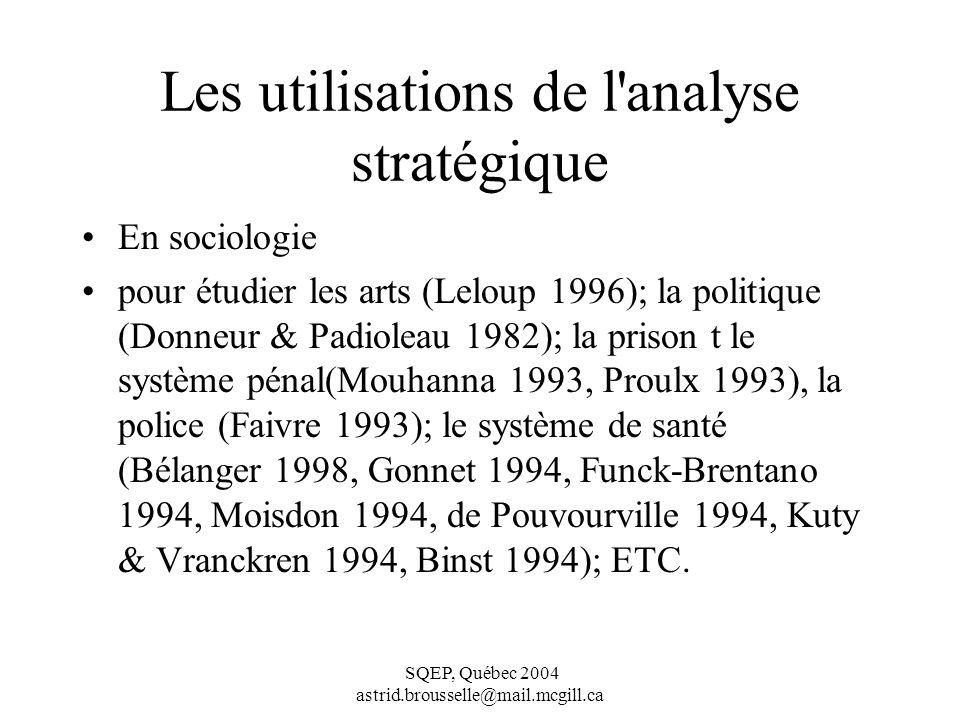 SQEP, Québec 2004 astrid.brousselle@mail.mcgill.ca Les utilisations de l analyse stratégique En sociologie pour étudier les arts (Leloup 1996); la politique (Donneur & Padioleau 1982); la prison t le système pénal(Mouhanna 1993, Proulx 1993), la police (Faivre 1993); le système de santé (Bélanger 1998, Gonnet 1994, Funck-Brentano 1994, Moisdon 1994, de Pouvourville 1994, Kuty & Vranckren 1994, Binst 1994); ETC.