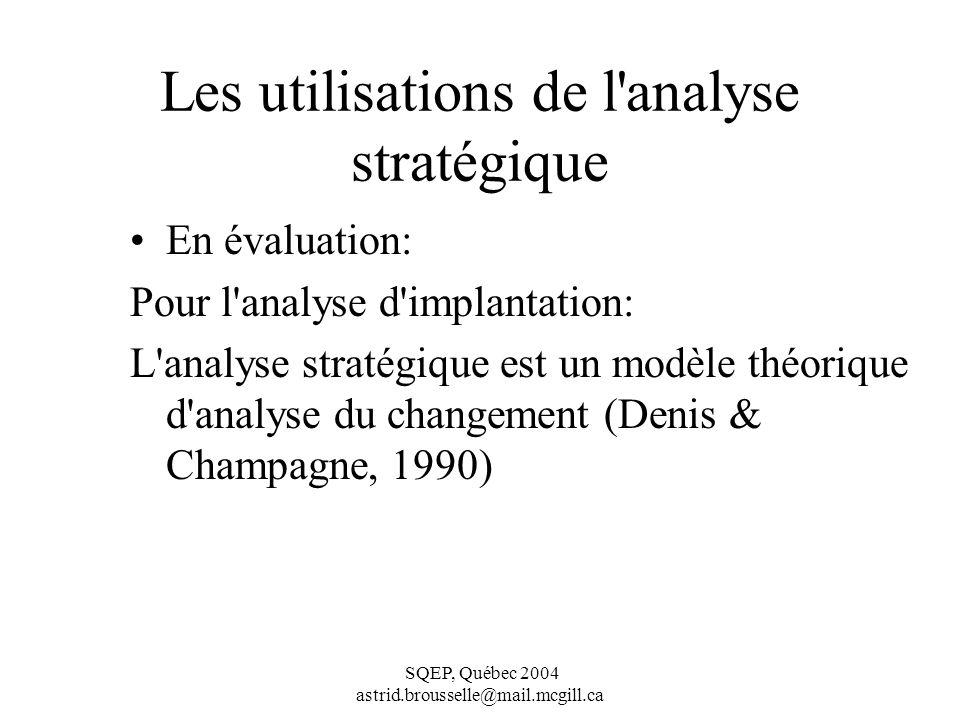 SQEP, Québec 2004 astrid.brousselle@mail.mcgill.ca Les utilisations de l analyse stratégique En évaluation: Pour l analyse d implantation: L analyse stratégique est un modèle théorique d analyse du changement (Denis & Champagne, 1990)
