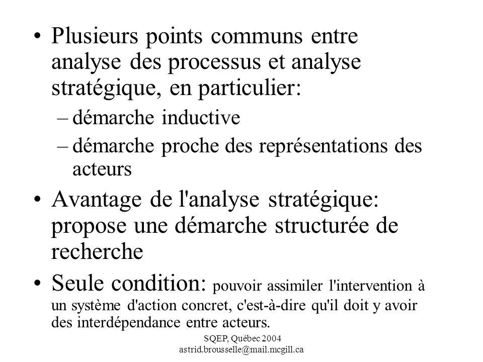SQEP, Québec 2004 astrid.brousselle@mail.mcgill.ca Plusieurs points communs entre analyse des processus et analyse stratégique, en particulier: –démarche inductive –démarche proche des représentations des acteurs Avantage de l analyse stratégique: propose une démarche structurée de recherche Seule condition: pouvoir assimiler l intervention à un système d action concret, c est-à-dire qu il doit y avoir des interdépendance entre acteurs.