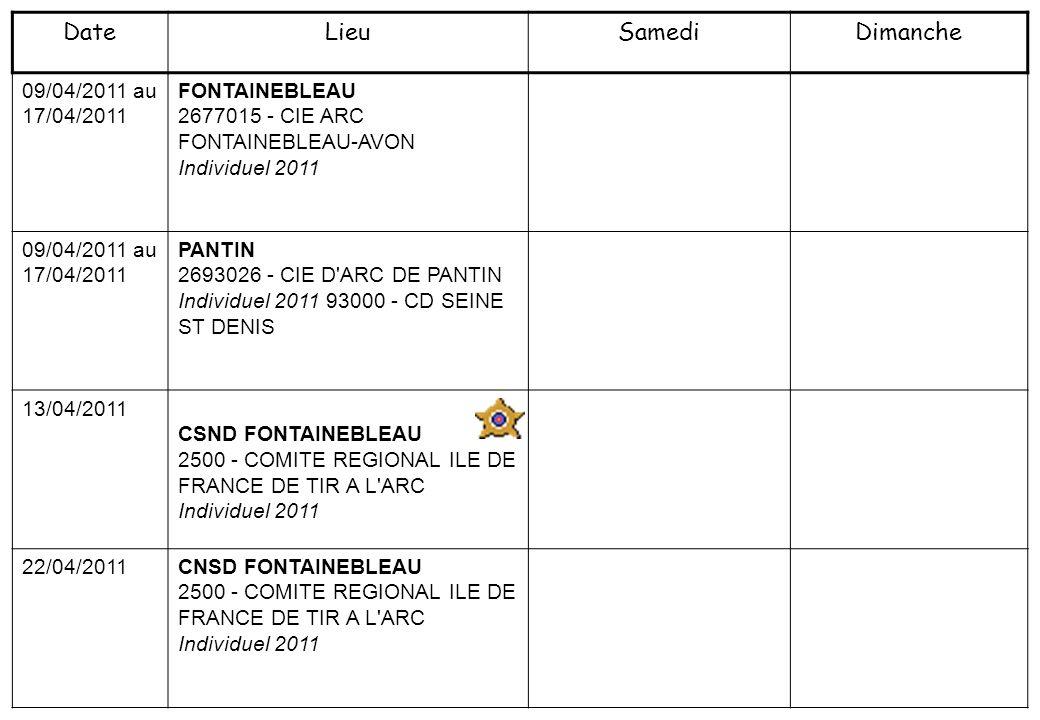 09/04/2011 au 17/04/2011 FONTAINEBLEAU 2677015 - CIE ARC FONTAINEBLEAU-AVON Individuel 2011 09/04/2011 au 17/04/2011 PANTIN 2693026 - CIE D ARC DE PANTIN Individuel 2011 93000 - CD SEINE ST DENIS 13/04/2011 CSND FONTAINEBLEAU 2500 - COMITE REGIONAL ILE DE FRANCE DE TIR A L ARC Individuel 2011 22/04/2011 CNSD FONTAINEBLEAU 2500 - COMITE REGIONAL ILE DE FRANCE DE TIR A L ARC Individuel 2011 DateLieuSamediDimanche