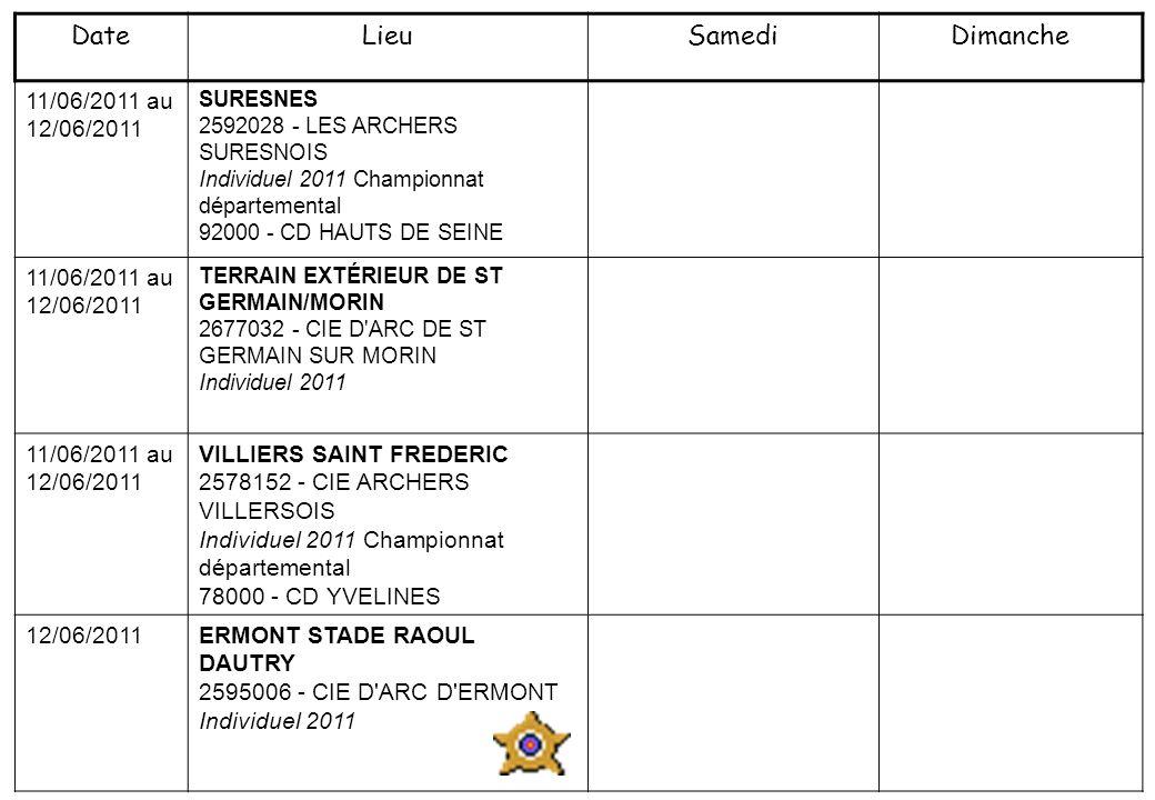 11/06/2011 au 12/06/2011 SURESNES 2592028 - LES ARCHERS SURESNOIS Individuel 2011 Championnat départemental 92000 - CD HAUTS DE SEINE 11/06/2011 au 12/06/2011 TERRAIN EXTÉRIEUR DE ST GERMAIN/MORIN 2677032 - CIE D ARC DE ST GERMAIN SUR MORIN Individuel 2011 11/06/2011 au 12/06/2011 VILLIERS SAINT FREDERIC 2578152 - CIE ARCHERS VILLERSOIS Individuel 2011 Championnat départemental 78000 - CD YVELINES 12/06/2011 ERMONT STADE RAOUL DAUTRY 2595006 - CIE D ARC D ERMONT Individuel 2011 DateLieuSamediDimanche