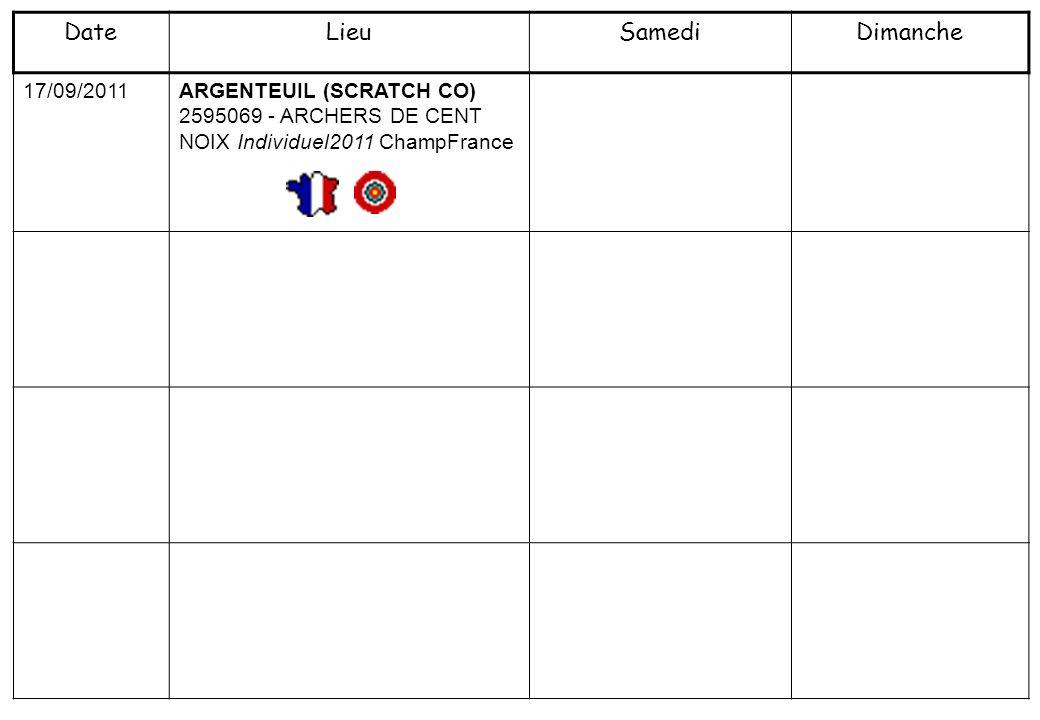 17/09/2011 ARGENTEUIL (SCRATCH CO) 2595069 - ARCHERS DE CENT NOIX Individuel2011 ChampFrance DateLieuSamediDimanche