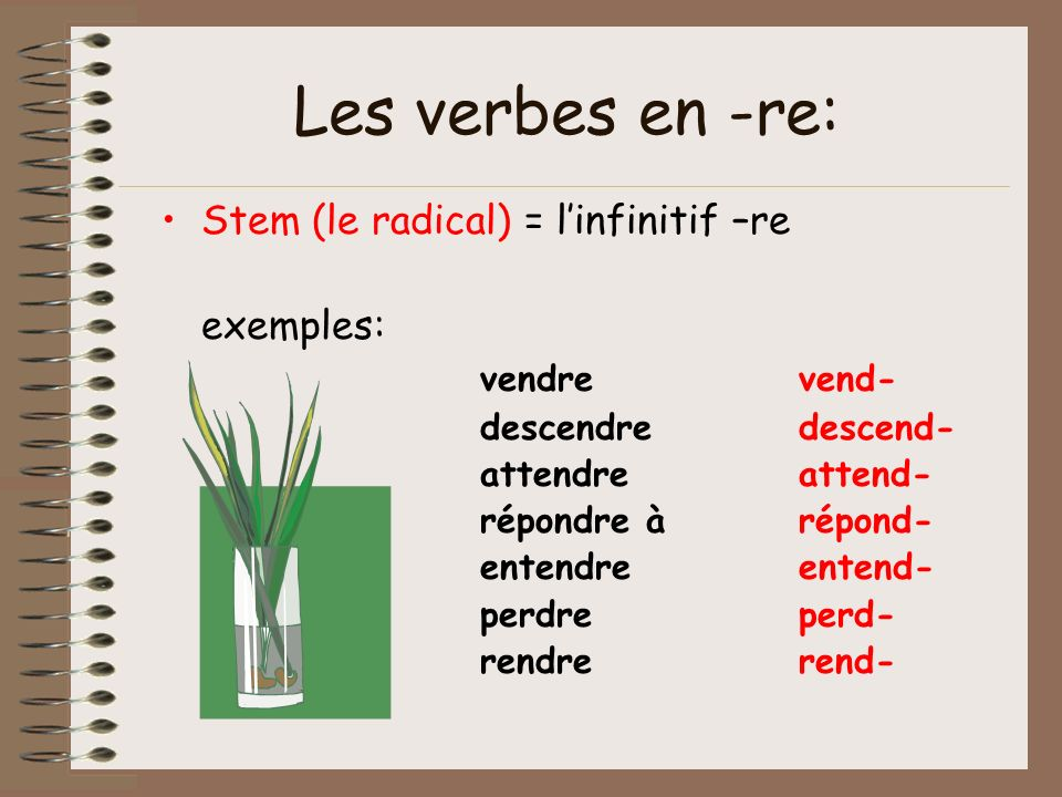 Stem (le radical) = linfinitif –re exemples: vendrevend- descendredescend- attendreattend- répondre àrépond- entendreentend- perdreperd- rendrerend- L