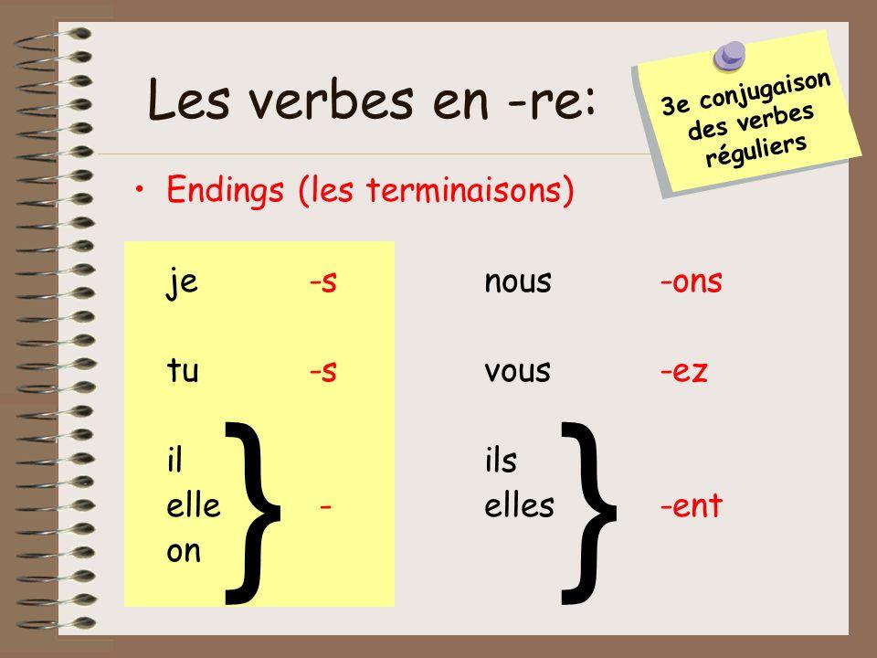 Endings (les terminaisons) je-snous-ons tu-svous-ez ilils elle -elles-ent on Les verbes en -re: }} 3e conjugaison des verbes réguliers