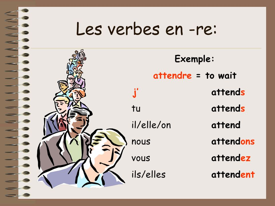 Verbes irréguliers en -re lire, dire et écrire These verbs all follow the same pattern and have the same endings when conjugated.