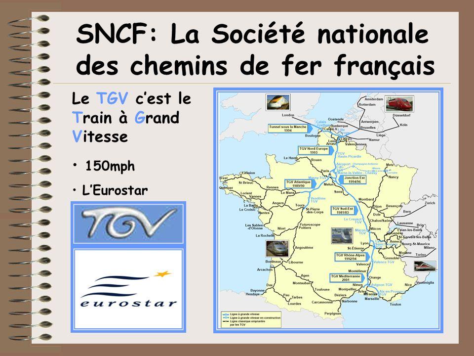 SNCF: La Société nationale des chemins de fer français Le TGV cest le Train à Grand Vitesse 150mph LEurostar