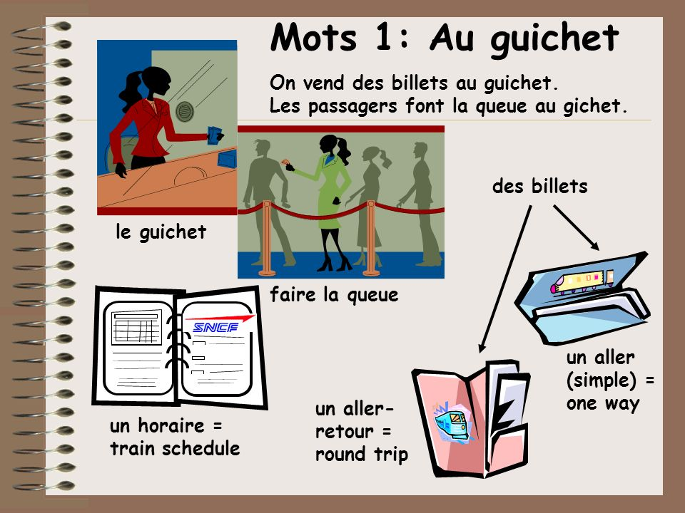 Mots 1: Au guichet On vend des billets au guichet. Les passagers font la queue au gichet. le guichet faire la queue un horaire = train schedule des bi