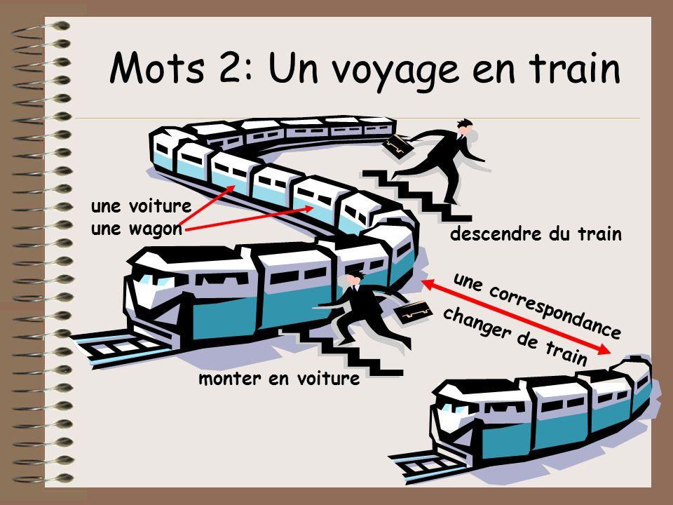 Mots 2: Un voyage en train monter en voiture descendre du train changer de train une voiture une wagon une correspondance
