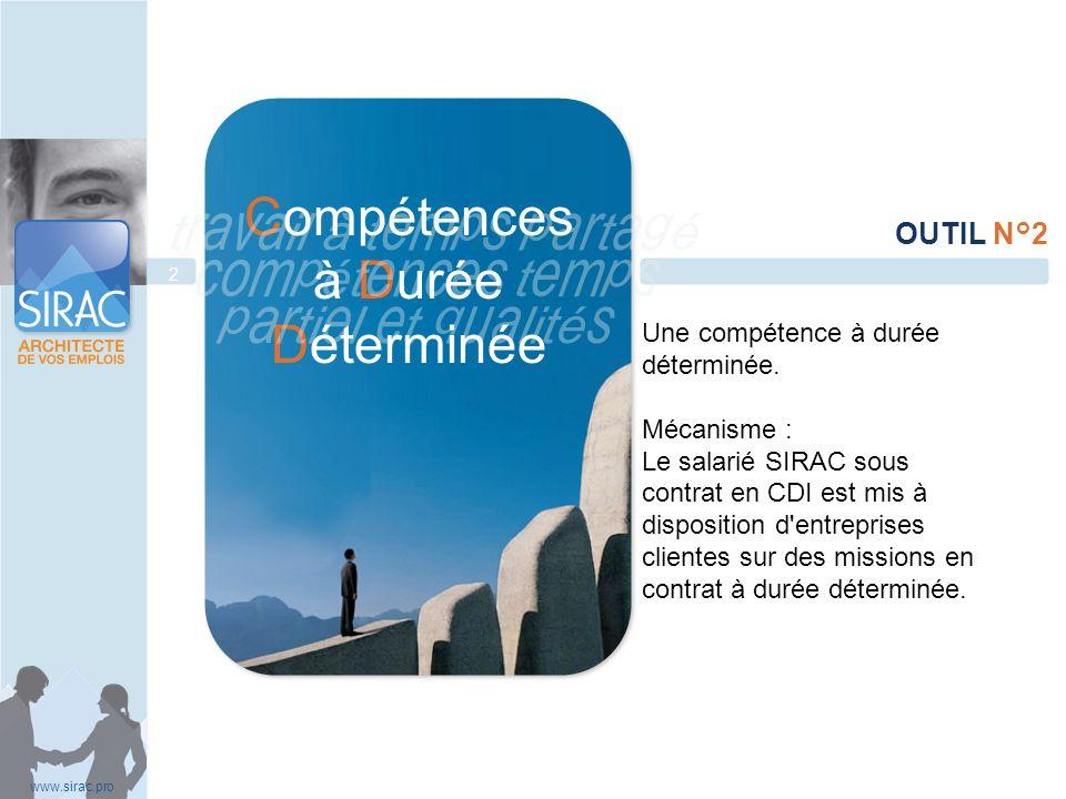 Une compétence à durée déterminée. Mécanisme : Le salarié SIRAC sous contrat en CDI est mis à disposition d'entreprises clientes sur des missions en c