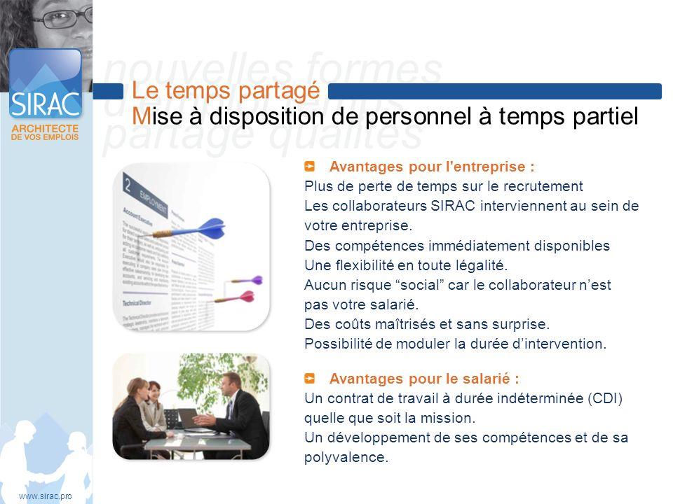 nouvelles formes demploi temps partagé qualités Le temps partagé Mise à disposition de personnel à temps partiel www.sirac.pro Avantages pour l'entrep