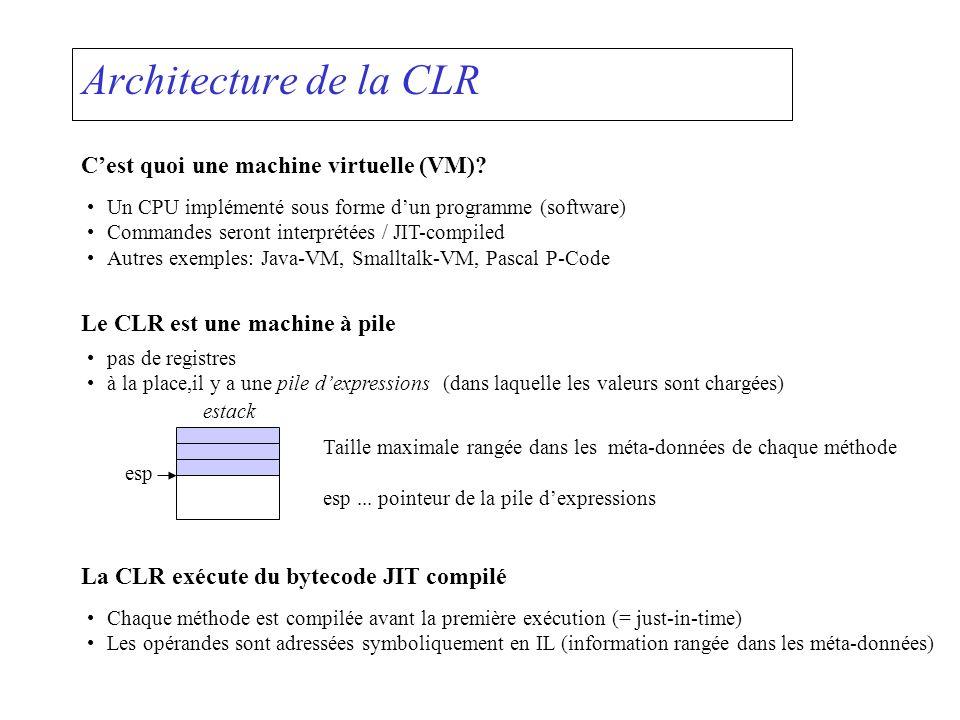 Architecture de la CLR Cest quoi une machine virtuelle (VM)? Un CPU implémenté sous forme dun programme (software) Commandes seront interprétées / JIT