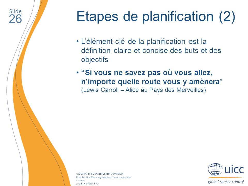 UICC HPV and Cervical Cancer Curriculum Chapter 8.a. Planning health communications for change Joe B. Harford, PhD Slide 26 Etapes de planification (2