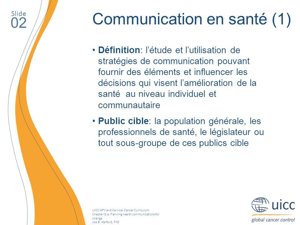 UICC HPV and Cervical Cancer Curriculum Chapter 8.a. Planning health communications for change Joe B. Harford, PhD Slide 02 Communication en santé (1)