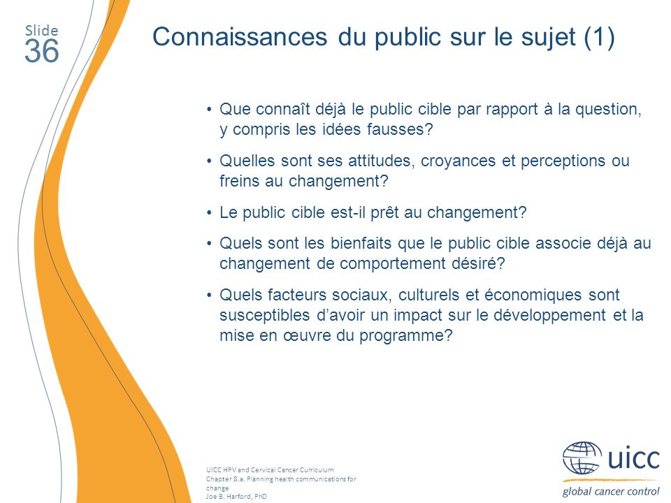 UICC HPV and Cervical Cancer Curriculum Chapter 8.a. Planning health communications for change Joe B. Harford, PhD Slide 36 Connaissances du public su