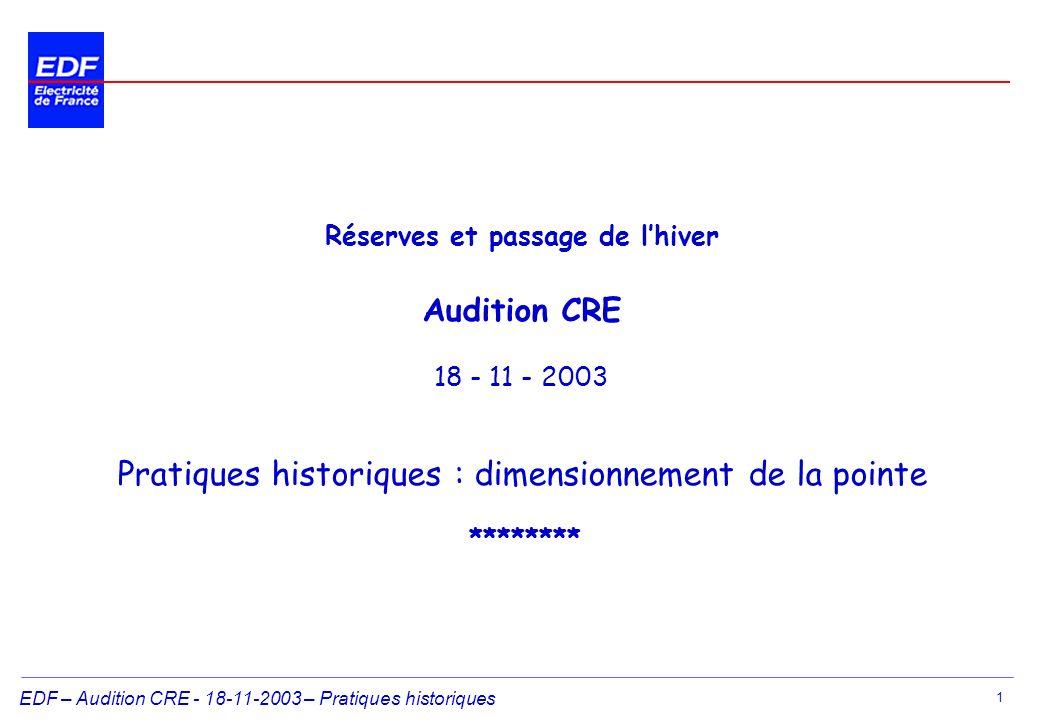 EDF – Audition CRE - 18-11-2003 – Pratiques historiques 1 Réserves et passage de lhiver Audition CRE 18 - 11 - 2003 Pratiques historiques : dimensionnement de la pointe ********
