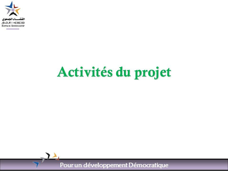 Pour un développement Démocratique Activités du projet