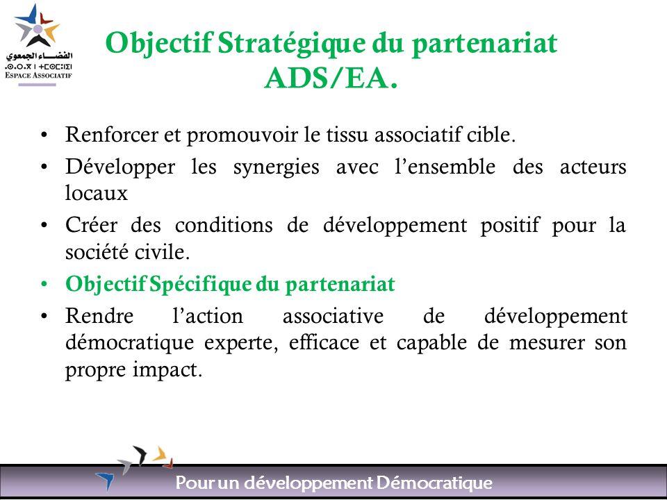 Pour un développement Démocratique Objectif Stratégique du partenariat ADS/EA.
