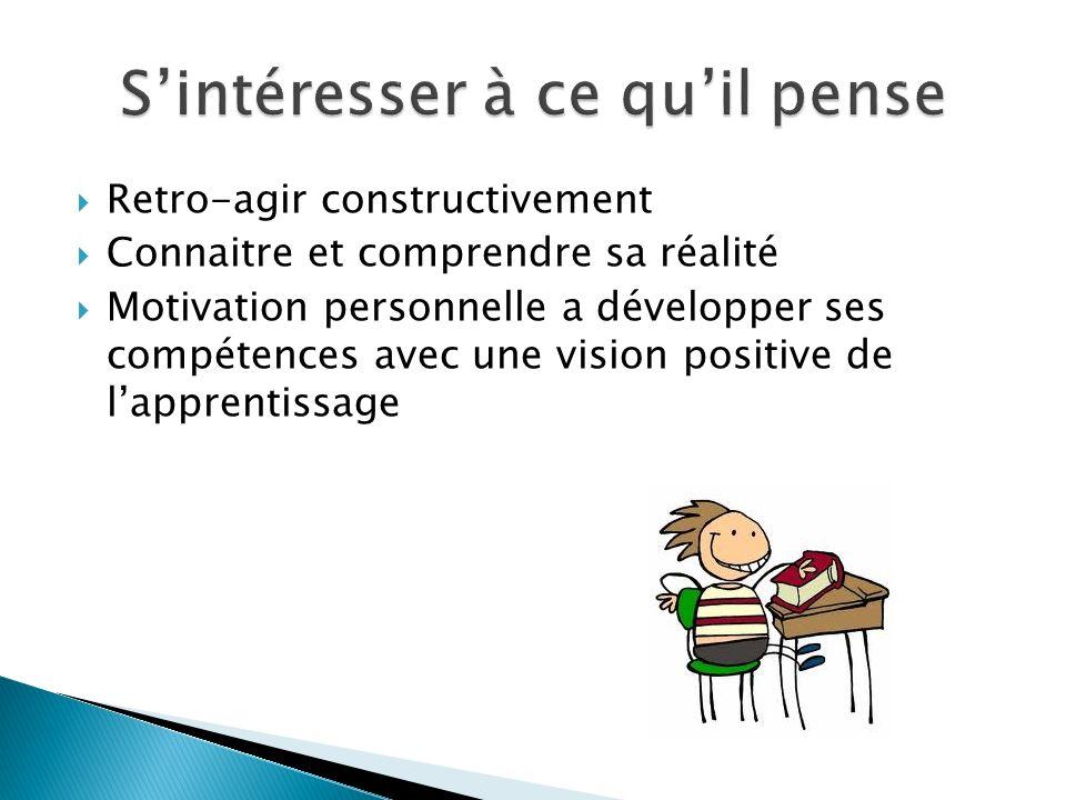 Retro-agir constructivement Connaitre et comprendre sa réalité Motivation personnelle a développer ses compétences avec une vision positive de lapprentissage