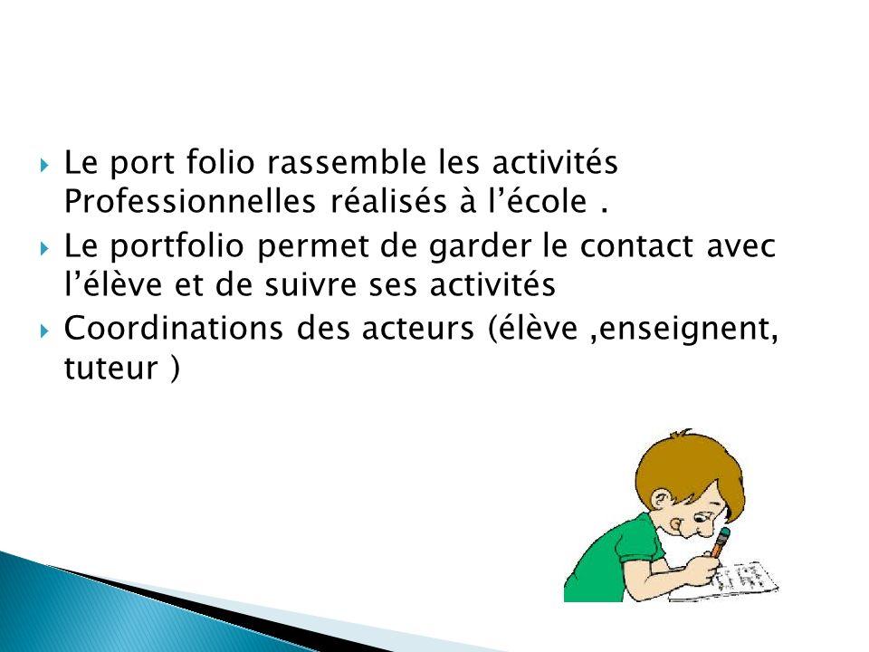 Le port folio rassemble les activités Professionnelles réalisés à lécole.