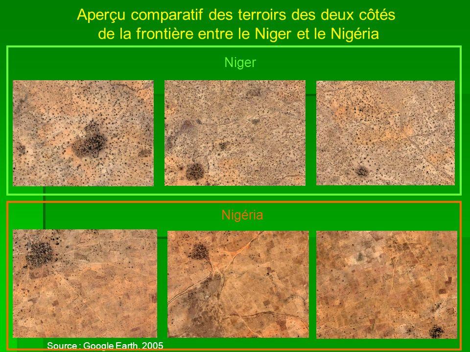 Aperçu comparatif des terroirs des deux côtés de la frontière entre le Niger et le Nigéria Source : Google Earth, 2005 Niger Nigéria