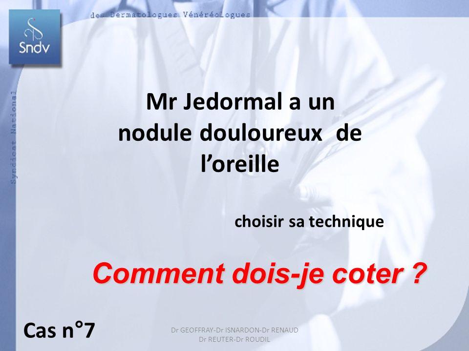 Dr GEOFFRAY-Dr ISNARDON-Dr RENAUD Dr REUTER-Dr ROUDIL Mr Jedormal a un nodule douloureux de loreille choisir sa technique Comment dois-je coter ? Cas