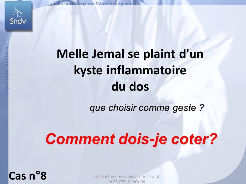 Dr GEOFFRAY-Dr ISARDON-Dr RENAUD Dr REUTER-Dr ROUDIL 19 Melle Jemal se plaint d'un kyste inflammatoire du dos Comment dois-je coter? que choisir comme