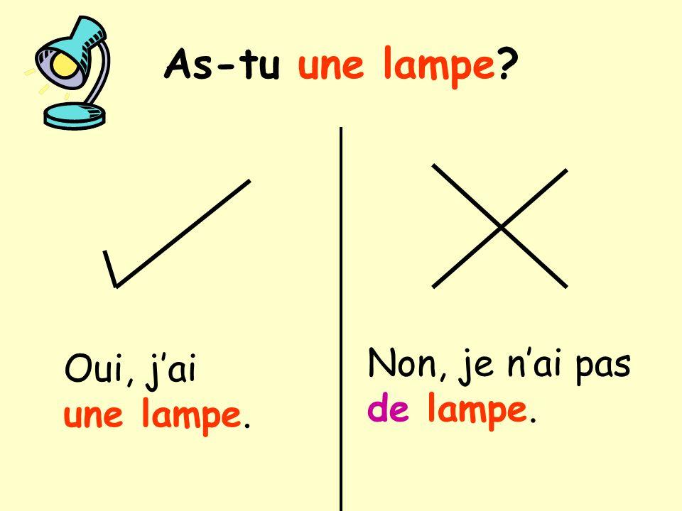 As-tu une lampe? Oui, jai une lampe. Non, je nai pas de lampe.