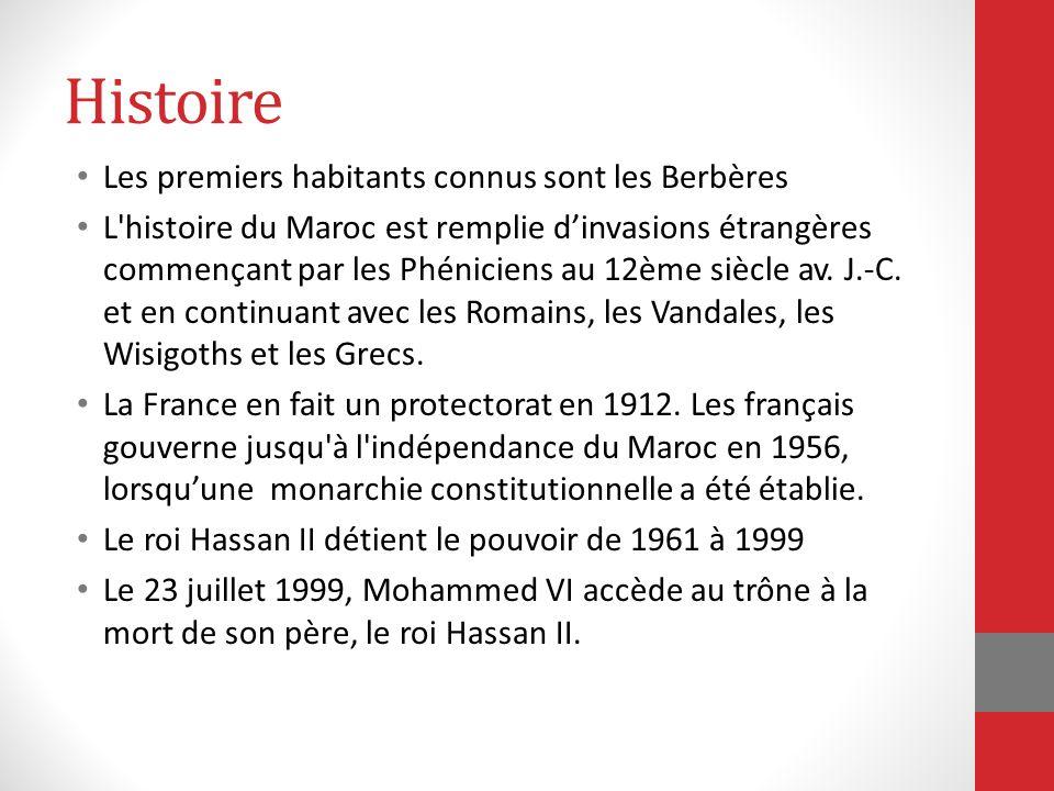 Histoire Les premiers habitants connus sont les Berbères L'histoire du Maroc est remplie dinvasions étrangères commençant par les Phéniciens au 12ème