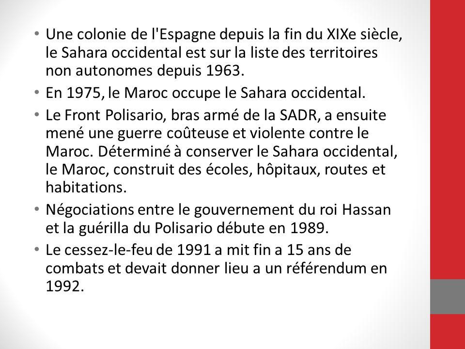 Une colonie de l'Espagne depuis la fin du XIXe siècle, le Sahara occidental est sur la liste des territoires non autonomes depuis 1963. En 1975, le Ma