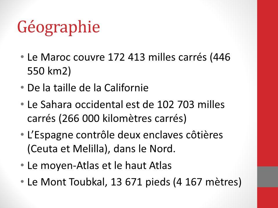 Géographie Le Maroc couvre 172 413 milles carrés (446 550 km2) De la taille de la Californie Le Sahara occidental est de 102 703 milles carrés (266 00