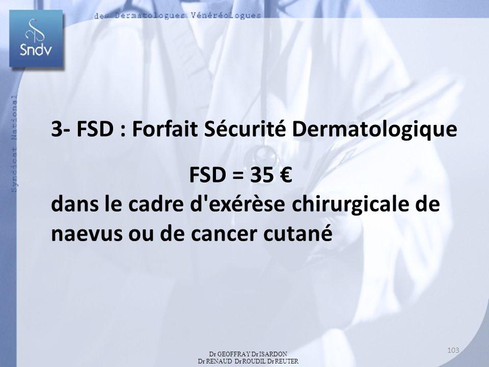 3- FSD : Forfait Sécurité Dermatologique FSD = 35 dans le cadre d'exérèse chirurgicale de naevus ou de cancer cutané Dr GEOFFRAY Dr ISARDON Dr RENAUD