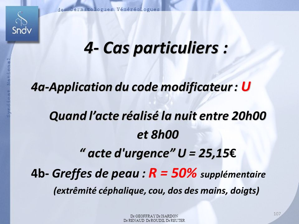 4a-Application du code modificateur : U Quand lacte réalisé la nuit entre 20h00 et 8h00 acte d urgence U = 25,15 acte d urgence U = 25,15 4b- Greffes de peau : R = 50% supplémentaire (extrêmité céphalique, cou, dos des mains, doigts) 4- Cas particuliers : Dr GEOFFRAY Dr ISARDON Dr RENAUD Dr ROUDIL Dr REUTER 107