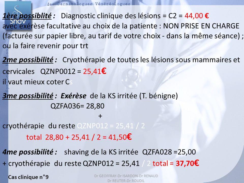 143 Cas clinique n°9 Dr GEOFFRAY-Dr ISARDON-Dr RENAUD Dr REUTER-Dr ROUDIL 1ère possiblité : Diagnostic clinique des lésions = C2 = 44,00 avec exérèse
