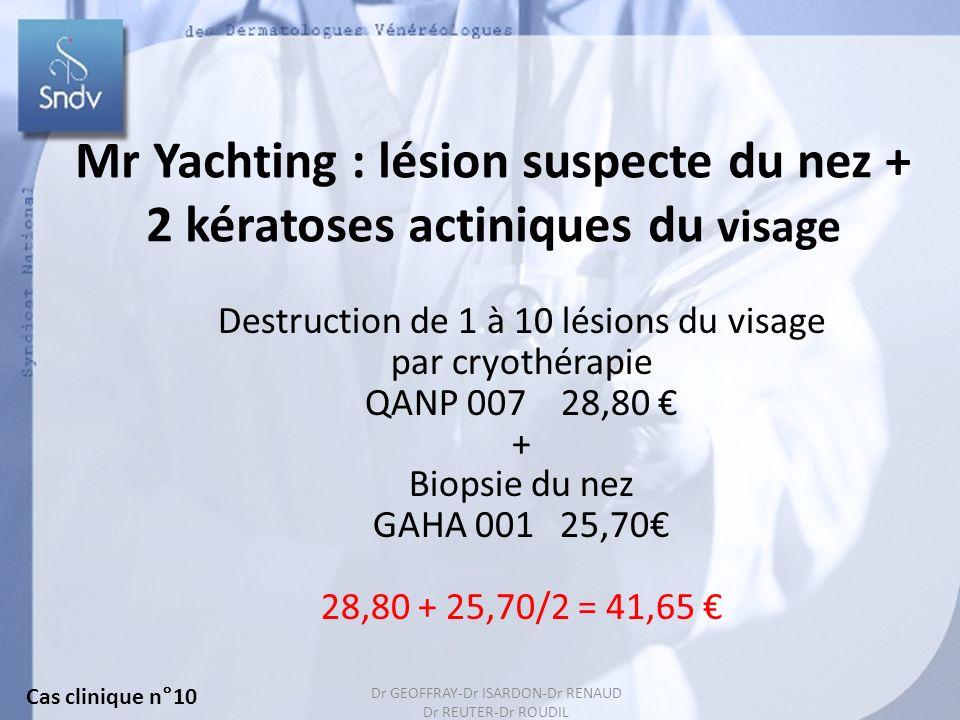 145 Mr Yachting : lésion suspecte du nez + 2 kératoses actiniques du visage Destruction de 1 à 10 lésions du visage par cryothérapie QANP 007 28,80 + Biopsie du nez GAHA 001 25,70 28,80 + 25,70/2 = 41,65 Cas clinique n°10 Dr GEOFFRAY-Dr ISARDON-Dr RENAUD Dr REUTER-Dr ROUDIL