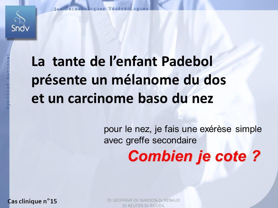 156 La tante de lenfant Padebol présente un mélanome du dos et un carcinome baso du nez Combien je cote ? pour le nez, je fais une exérèse simple avec