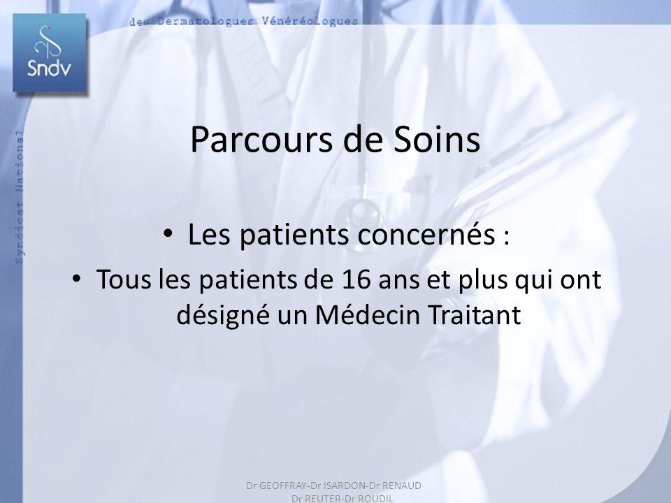 163 Parcours de Soins Les patients concernés : Tous les patients de 16 ans et plus qui ont désigné un Médecin Traitant Dr GEOFFRAY-Dr ISARDON-Dr RENAUD Dr REUTER-Dr ROUDIL