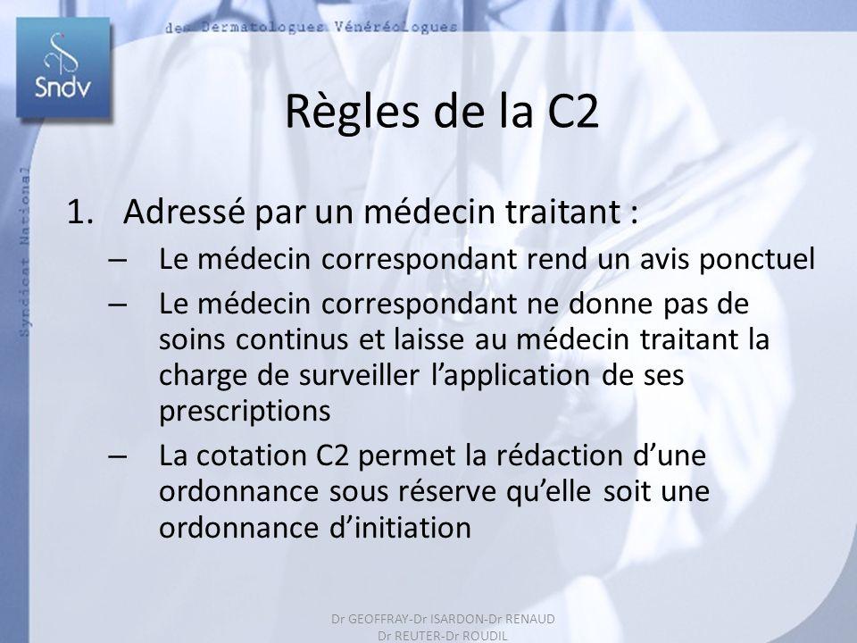 167 Règles de la C2 1.Adressé par un médecin traitant : – Le médecin correspondant rend un avis ponctuel – Le médecin correspondant ne donne pas de so